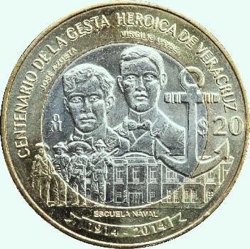 42496c0928bb Moneda de 20 Pesos dedicada al Centenario de la Gesta de Veracruz. El  reverso lleva estampado como motivo principal los retratos de Virgilio  Uribe y José ...